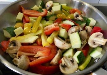 Salteando las verduras